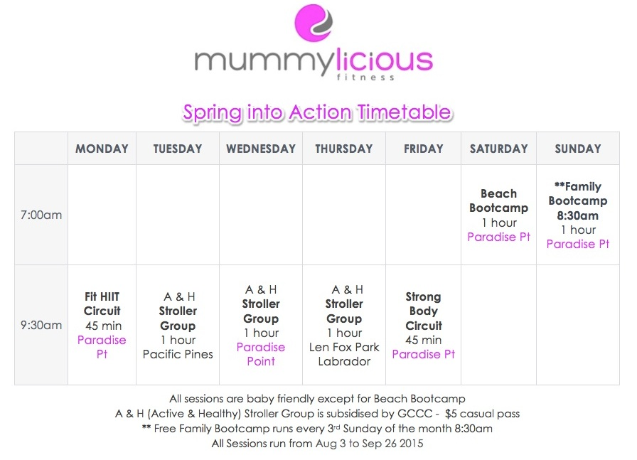 Spring into Action Timetable